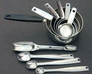 10pc Set Vintage Foley Measuring Cups And Spoons Stainless Steel Wet/dry Sauce Pan