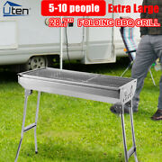 Bbq Charcoal Grill Foldable Barbecue Stove Portable Yard Cooker Stainless Steel
