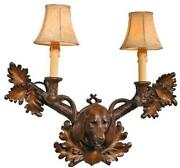 Wall Sconce Foxhound Dogs 3-light Faux Leather Shade Cast Resin Hand-c