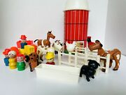 Vintage 1968 Fisher Price Little People Farm 915 Lot Hex Animals W/w People More