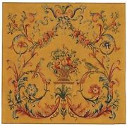Tapestry Aubusson Leaves Leaf 48x48 Coral Red With Backing And Rod Pocket