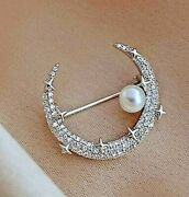 1.65ct Natural Round Diamond 14k Solid White Gold Pearl Moon Brooch Pin