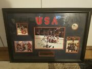 Miracle Usa Hockey Team Jim Craig Signed Framed Memorial Plaque And Photos
