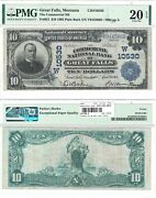 1902 10 Commercial National Bank Of Great Falls Mt 10530 Pmg Very Fine-20 Epq