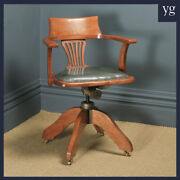 Antique English Edwardian Oak And Green Leather Revolving Office Desk Arm Chair