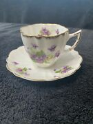 Beautiful Victoria Scalloped Bone China Tea Cup And Saucer With Purple Flowers