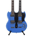 Double Neck Sg Style Guitar Laser Blue 12/6 String Brand New