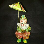 Vintage Mexican Folk Art Paper Mache Clown Holding Umbrella With Peace Shoes