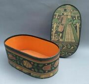 Vintage Antique Country Folk Art Deco Paper Decorated Oval Wall Paper Hat Box