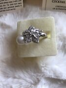 Lenox Sterling Silver Flowering Pearl Cocktail Ring W/white Topaz Nib With Coa