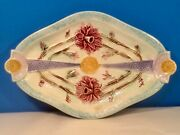 Antique Diamond Shaped Majolica Floral Tray Platter C1800's