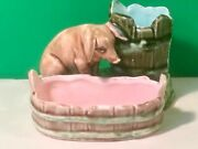 Antique Majolica Little Pig At Water Trough Match Holder Striker And Tray C.1800's