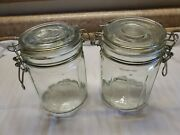 2 24 Oz. Glass Jar With Hinged Metal Clamp Lid Rubber Gasket 5 1/4 Tall