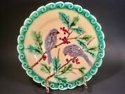 Antique French Majolica Sparrows And Holly Berries Plate C.1800and039s
