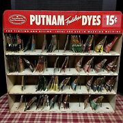 Antique Putnam Fadeless Dyes And Tint Metal Display Cabinet Plus 93 Dye Packets