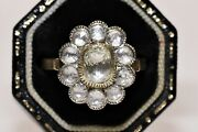 Victorian Style New Made 14k Gold Natural Rose Cut Diamond Decorated Ring