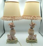 Vtg - 50s Pink And Gold French Spaghetti Poodle Figure Boudoir Lamp Bases Mcm
