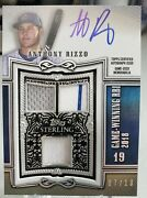 Anthony Rizzo 2020 Topps Sterling On Card Blue Auto 3 Swatch Game Used 7/10