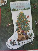 Dimensions Teddy's Gift Christmas Stocking Crewel Embroidery Kit 8084 '96 Rare