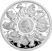 2021 Great Britain Queen's Beasts Completer 2 Oz Silver Proof Coin Box/low Coa