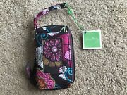 New Vera Bradley All In One Wristlet Mod Floral Pink Small Purse Wallet Retired