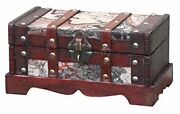 Vintiquewise Old World Map Wooden Trunk/box Small Cherry