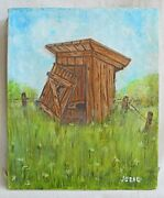 Jubal Painting Country Outhouse Portrait Ranch Folk Art Vintage Flower Meadow