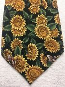 Tango Mens Tie Green And Black With Sunflowers And Bees 4 X 58