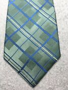 Stafford Mens Tie Green With Blue And White 3.75 X 60 Nwot