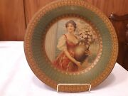 Antique Vienna Plate Lady Portrait Tin Metal Plate 10 Urn Of Flowers