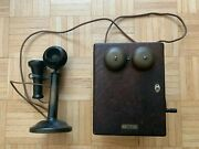 Antique Western Electric Candlestick Telephone With Oak Ringer Box