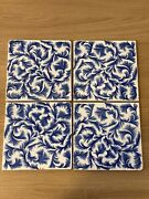 Antique Victorian Wedgwood Blue Feathers Tile - C1878 - 1900 Pattern T 505