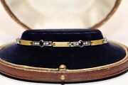 Vintage 18k Gold Natural Diamond And Sapphire Decorated Pretty Bracelet
