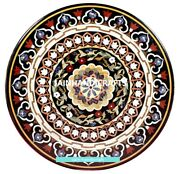 30and039and039 Black Marble Dining Center Side Coffee Table Top Inlay Antique Malachite F3