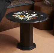 30and039and039 Black Marble Table Top Coffee Center Pietra Dura Inlay Antique With Stand 1