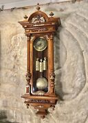 Antique Germany Vienna Strike Clock3 Carved Weights Driven Carved Walnut Case.