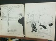 Two Black And White Dog Caricatures By Zito Fair Condition 9 X 12