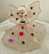 Vintage Wired Pink Tulle Angel Porcelain Pony Tail Tree Top Christmas Japan