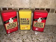 Lot Of 3 Vintage Tin Coffee Advertising Coin Banks Red Circle Eight Oclock 134