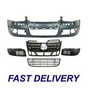 Set Of 5 Front Bumper Cover And Grille Kit Fits 2005-2010 Volkswagen Jetta
