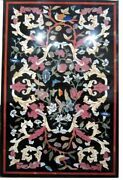 60and039and039x34and039and039 Handmade Black Marble Center Inlay Table Top Mosaic Decor