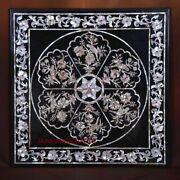 4and039 Black Marble Table Top Coffee Center Center Inlay Mosaic Lapis Home Decor