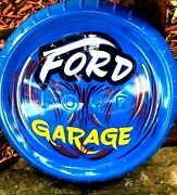 Vintage Ford Garage Painted Hubcap Shop Man Cave Car Hot Rod Sign Pinstriped B