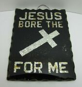 Jesus Bore The Cross For Me Old Folk Art Thick Glass Scalloped Edge Sign Tin