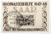 Bloc Cancelled Saar France Germany 1948 Saarland Charity For Flood Victims Y23
