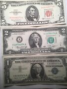 1963 Red Seal 5 Dollar Bill And 2 Other Bills