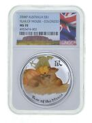 2008-p 1 Oz Australia - Silver Year Of The Mouse 1 Colorized - Ngc Ms70