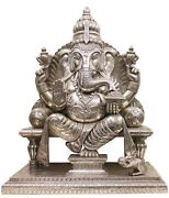 Lord Ganesha Statue Pure Argent Travail Sculpture Wooden Indianmb004sh
