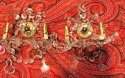 Antique Bronze Crystal French Wall Sconces Pair Loaded With Prisms