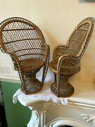 Vintage Wicker Dolls / Bear Chairs X 2 Use For Plant Rest 41cm Tall